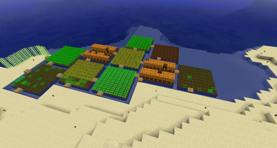 """Beispiel von """"Water Farming"""" in Minecraft"""